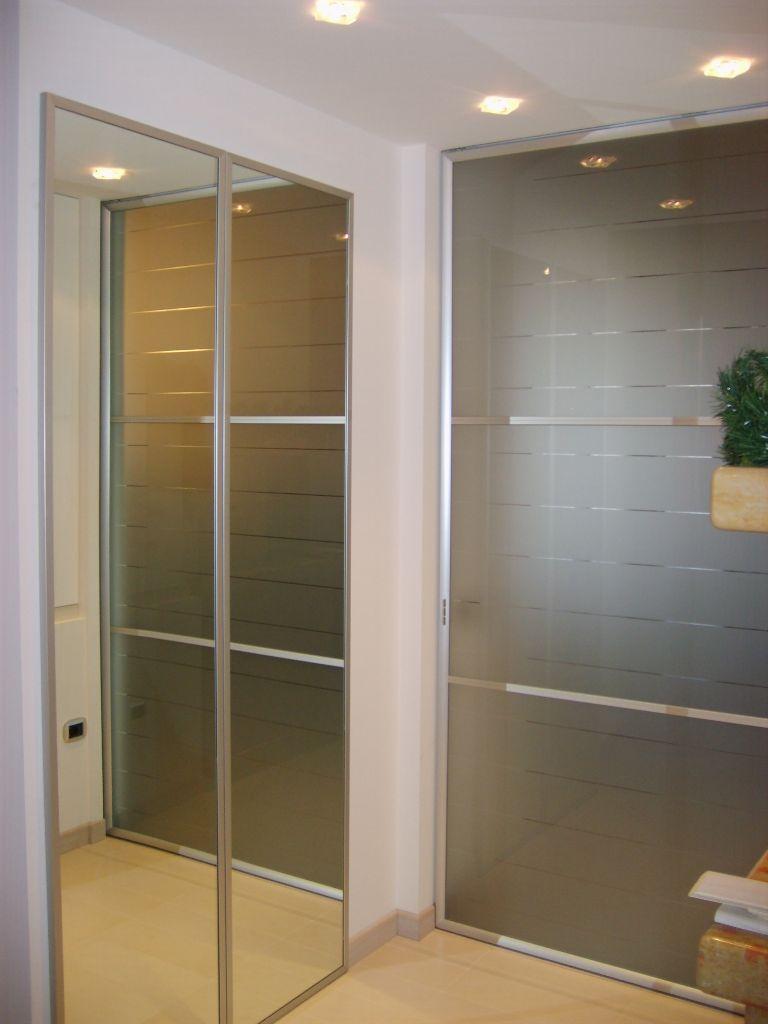 Porta scorrevole in cristallo per casa infix - Porta specchio scorrevole ...