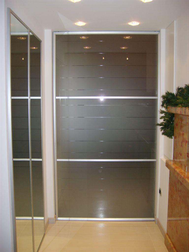 Porta scorrevole in cristallo per casa infix - Alluminio lucidato a specchio ...