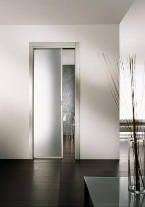 Porta interna in alluminio e vetro in cristallo temperato - Porta scorrevole alluminio ...