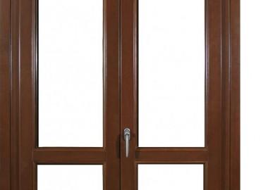 Porta-finestra legno/alluminio con traverso intermedio