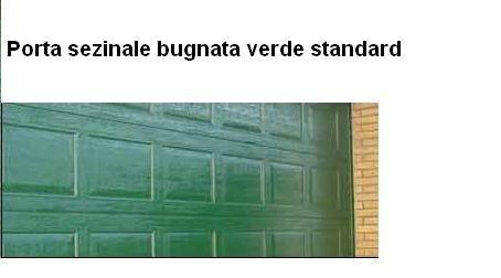Portone sezionale con cassettone bugnato verde