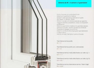 Serramento in Pvc Serie MD 90 triplice vetro, 6 camere e  3 guarnizioni